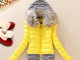 韩国女装秋冬装新款毛线拼接休闲棉服羽绒棉服毛领外套女