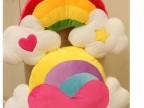 批发可爱天使爱心毛绒创意抱枕 超大彩虹靠垫 礼物实用 腰靠