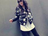 米娅XGLS韩版女冬季90白鹅绒星星羽绒服时尚洋气百搭棒球服女外