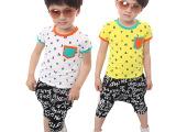 童装夏款2014男童夏季套装 韩版童装批发儿童短袖哈伦裤童套装