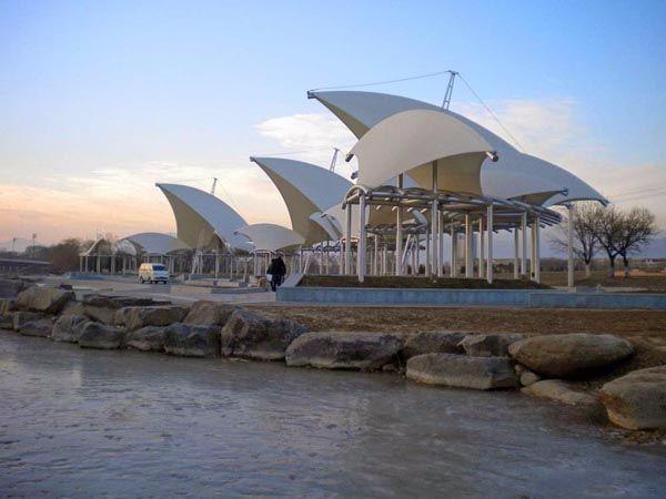 游泳馆遮阳膜布批发加工安装 运动健身场所景观膜结构设计制作
