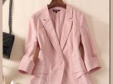 2015新款小西服女士宽松大码休闲外套纯亚麻西装七分袖上衣特价女