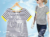 夏装新品短袖t恤韩版打底衫燕尾条纹t恤圆领女装一件代发短袖t恤