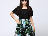 2015夏季新款大码女装韩版时尚短袖连衣裙厂家批发8840