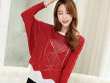 2015秋季最新韩版纯色圆领宽松镂空蝙蝠袖假两件套针织衫女818
