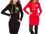 2013秋冬装新款大码女装韩版修身长袖连帽加厚加绒卫衣连衣裙