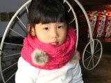 厂家批发韩国韩版女童兔毛球围巾围脖糖果色百搭保暖女童毛线围脖