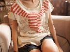 夏季新款围巾图案女式上衣韩版全棉拼接浅灰色短袖休闲T恤 0650