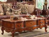 瑞福祥欧式实木茶几 双面雕花客厅茶几 欧美式纯手工咖啡桌P-23