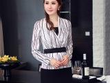 韩版女装2014新款时尚修身弹力缎纹印花大码长袖衬衫女衬衣JR6
