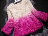 高端定制2014新款女皮草羊毛圆领外套渐变色桐乡皮草短款外套