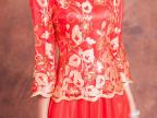 新娘敬酒服春款旗袍新款2015大码结婚礼服婚纱孕妇春季装时尚红色