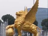 贵州雕塑 金色飞狮玻璃钢雕雕塑