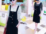 2015秋装新款连衣裙女装韩版修身显瘦条纹长袖t恤背带连衣裙套装