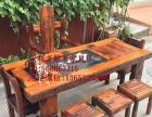 泰州市老船木家具茶桌办公桌餐桌椅子实木沙发茶几茶台鱼缸博古架