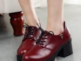 新款女鞋英伦风粗跟小皮鞋圆头系带韩版单鞋学生鞋欧美学院风潮