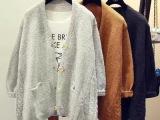 韩国新款复古麻花毛衣女中长款宽松大码针织衫蝙蝠衫毛衣开衫外套