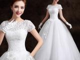 新娘婚纱礼服201春夏新款复古圆领一字肩蓬蓬裙蕾丝包肩婚纱批发