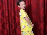 儿童纯绵绸睡衣夏季新款棉绸家居服男童女童时尚卡通短袖短裤套装