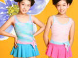 4405千日红品牌大女童学生连体裙式泳衣泳装海军风格少女泳装