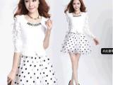 2014年新款 韩版欧根纱可爱波点假两件套蕾丝时尚蓬蓬连衣裙