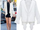秋季新款女装欧美时尚大码修身不规则白色小西装女西服女