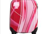 旅行箱厂家定做幻彩红abs拉杆箱 18寸万向轮女性时尚行李箱