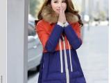 2013冬装新款撞色拼接军工装加厚羽绒服中长款韩版羽绒服