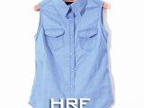 H&M牛仔无袖衬衫促销特价 修身成品水洗牛仔马甲背心春季