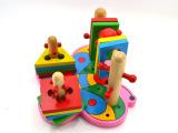 益智木制玩具早教玩具幼得乐游蝴蝶套柱