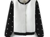 N秋季女装新款 欧美风刺绣黑白拼接棒球服夹克外套