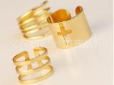 1套起批 欧美夸张个性条纹镂空十字架金色金属戒指三件套 B1R1