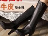 2013冬季新款休闲水钻高跟靴圆头高筒粗跟真皮女鞋马丁靴女靴