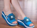 新款真皮坡跟凉拖鞋正品高跟水钻厚底松糕鞋品牌拖鞋女
