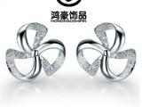 韩版首饰三叶草 925纯银耳钉  耳环 时尚饰品批发饰品 耳钉