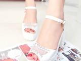 2014新款夏季高跟凉鞋粗跟厚底防水台鱼嘴水钻网布鞋女凉鞋