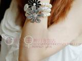 最新款韩版饰品玫瑰公主花朵三层珍珠手镯女欧美复古手链手饰