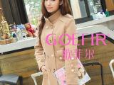 GOEFIR歌菲尔品牌潮人新款韩版显瘦修身羊绒毛呢大衣外套厂家批