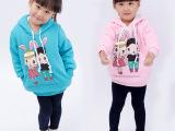 2014冬季新款童装保暖加厚加绒女童多色卡通小兔卫衣厂家直销