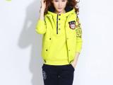 2014冬装连帽加绒加厚大码休闲卫衣三件套装韩版学生外套潮女