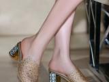 大码鞋凉拖鞋女2014新款水钻粗跟6厘米一字拖金色白搭鱼嘴鞋