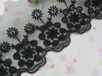 DIY黑色车骨婚纱头饰蕾丝花边18.5cm宽股线花朵蕾丝花边辅料