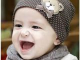 2014秋款小熊圆点款婴儿帽双层薄棉针织帽宝宝帽毛线套头帽儿童帽