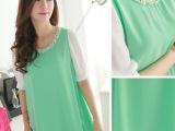 夏季新款韩版孕妇连衣裙 2014大码宽松圆领短袖雪纺连衣裙