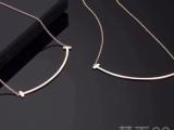 Tiffany蒂芙尼T家18k金镶钻石微笑项链可定制