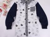 秋款时尚拼接口袋卡通熊猫衬衣印花条纹男童长袖童装地摊童衬衫潮