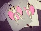 外贸原单批发 韩国代购甜美倒立兔子印花图案新款短袖t恤女 代发