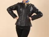 2014新款 女式短款真皮皮衣女外贸原单修身羊皮短款小外套加棉
