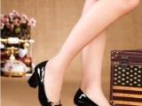 2014春季新款时尚方扣粗跟OL中跟真皮韩版女单鞋方头低帮工作女