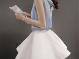 2015夏季新款雪纺套装裙韩版无袖短款网纱伞裙两件套潮女神连衣裙